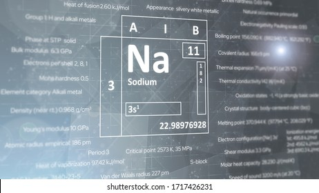 元素の周期表からの金属ナトリウム元素のコンセプト。明るいグレイの背景。