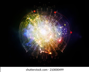 Elementary Particles series. Interplay of abstract fractal forms on the subject of nuclear physics, science and graphic design.