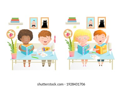 Elementary schoolchildren sitting at the desk, studying, reading books and drawing with color pencils. Cute kids education, classroom illustration. Watercolor style cartoon.