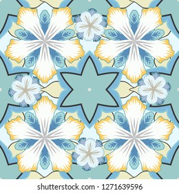 Elements for templates in beige, blue and yellow colors. Ornate decor seamless pattern for invitations, greeting cards, labels, badges, tags. Luxury ornament in Eastern style.