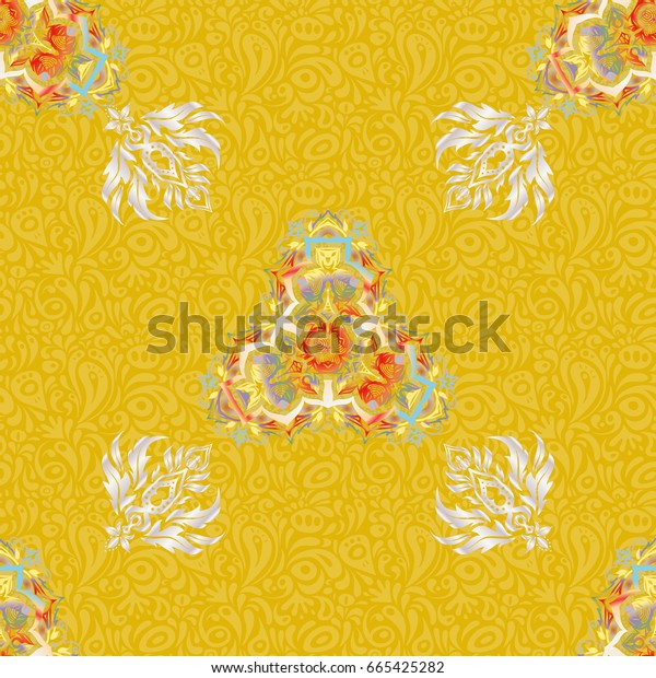 Elements for templates in red and yellow colors. Luxury ornament in Eastern style. Ornate decor seamless pattern for invitations, greeting cards, labels, badges, tags.