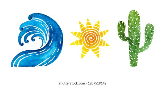 Elements for your design - hot summer. Wave, sun an cactus isolated on white background