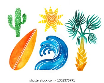 Elements for your design - hot tropical  summer. Wave, sun, cactus, surfboard and palm tree  isolated on white background