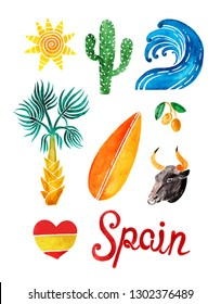 Elements for your design - summer in Spain set. Wave, sun, cactus, surfboard, lettering, black bull, olive, heart and palm tree  isolated on white background. Spanish traditional symbols and objects.