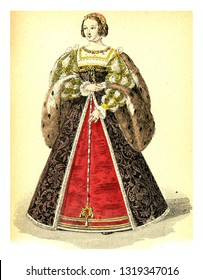 Eleonore of Austria, vintage engraved illustration. 12th to 18th century Fashion By Image.