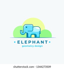Elephan Geometry Design. Abstract Sign, Symbol or Logo Template. Colorful Tiny Animal Silhouette with Modern Typography. Isolated. Raster Copy.