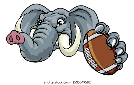 An elephant American Football sports animal mascot holding a ball