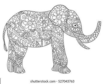 Elephant animal coloring book for adults raster illustration. Anti-stress coloring for adult. Zentangle style. Black and white lines. Lace pattern
