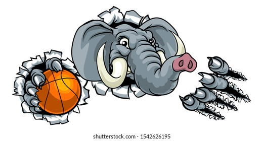 An elephant basketball sports animal mascot holding a ball and breaking through the background