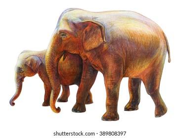 Elephant and child drawing (Elephas maximus)