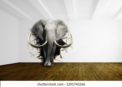 An elephant comes out of the white wall to the floor. Wallpaper for walls. 3D illustration.