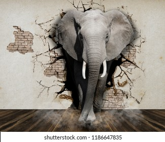 Elephant coming out of the walls. Wallpapers for walls. 3D rendering.