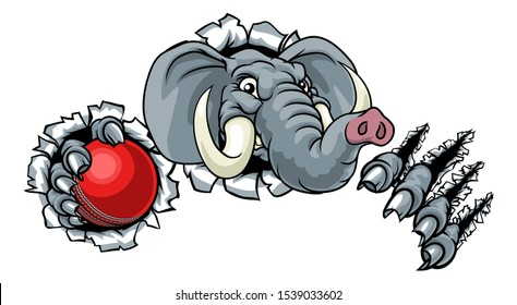 An elephant Cricket sports animal mascot holding a ball and breaking through the background