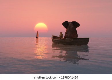 elephant and dog are floating in a boat at sunset, 3d illustration