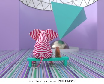 elephant and dog in the modern art museum, 3d illustration