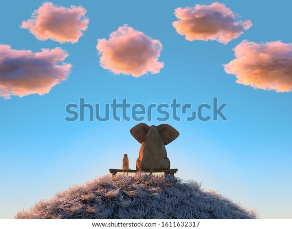 elephant and dog are sitting on a hill at sunset, 3d illustration