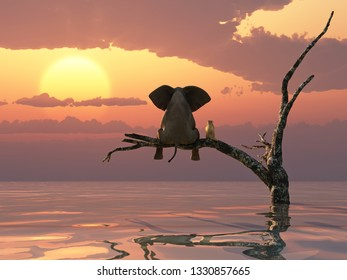 an elephant and a dog are sitting on a tree fleeing a flood, 3d illustration