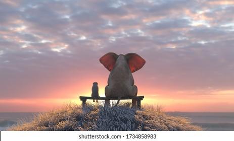 elephant and dog watch the sunrise on the seashore, 3d illustration