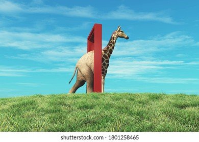 Elephant entering a door and gets out as a giraffe . Changing mindset and different approach concept . Life changing decision and new opportunities . This is a 3d render illustration .