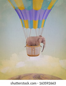 Elephant flying in a balloon. Illustration for a card or book cover or magazine. Computer graphics.