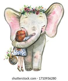 Elephant with a girl,Little girl and elephant are hugging. Girl and elephant are friends.