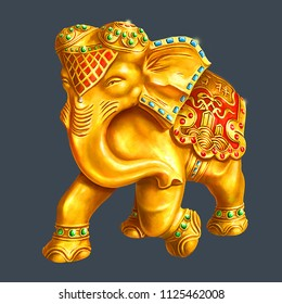 Elephant, gold statue, red cristals, traditional, Asia, sculpture, symbol, animal, wildlife, ornamentals