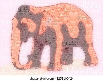 Elephant illustration with forever words and ❤️ symbol together image design