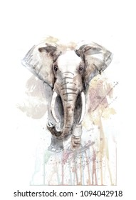 elephant illustration watercolor, markers