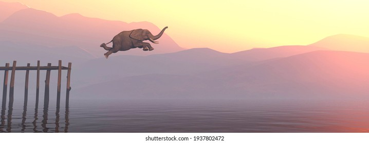 Elephant jumping in lake during sunset . This is a 3d render ilustration .