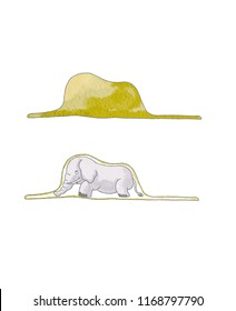 Elephant in the little prince hat
