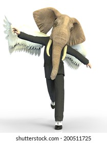 Elephant man elephant head and wings
