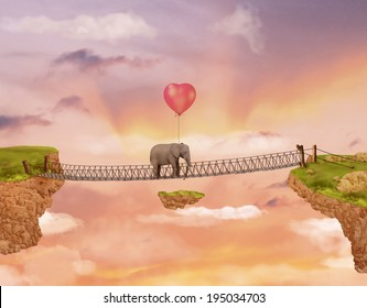 Elephant on the bridge in the rays of the setting sun with heart-shaped balloon. Illustration for a card or book cover or magazine. Computer graphics.