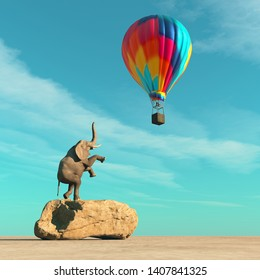 Elephant on a rock rising up to a balloon. This is a 3d render illustration