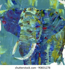 An elephant painted with acrylics on canvas. I painted it