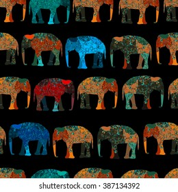 elephant painted by hand is suitable for your projects! seamless background