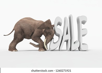 """An elephant push a word """" sale"""". Discount concept.  This is a 3d render illustration"""