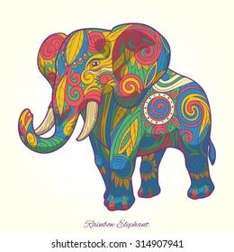 Elephant rainbow colorful ornament ethnic raster version, tribal,tattoo, animal, art, stencil, abstract, design