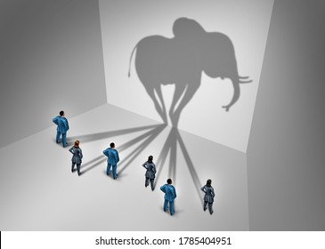 Elephant in the room concept and obvious problem as a group of business people casting a shadow shaped as a huge mammal as a metaphor for work place or workplace problems in a 3D illustration style.