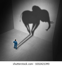 Elephant in the room idiom and metaphor problem concept as a person casting a shadow shaped as a huge mammal as a psychology symbol for repression in a 3D illustration style.