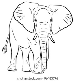 elephant silhouette - freehand on a white background