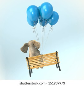 Elephant sitting on a bench flying