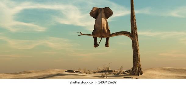 El elefante se alza sobre una delgada rama de árbol marchitado en un paisaje surrealista. Esta es una ilustración de representación 3d