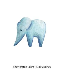 Elephant statue watercolor illustration on white background. Stone elephant figurine. African or indian animal. Cozy home interior decor. Decorative elephant simple icon. Wisdom or longevity symbol