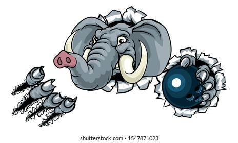 An elephant ten pin bowling sports animal mascot holding a ball and breaking through the background