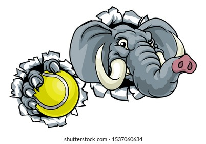 An elephant tennis sports animal mascot holding a ball and breaking through the background