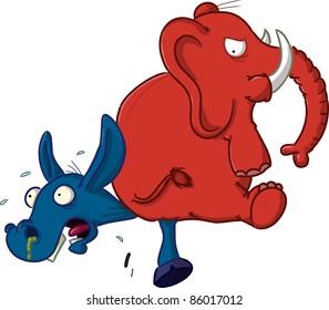 Elephant vs. Donkey isolated on white