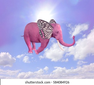Elephant-butterfly flying in the sky. 3D illustration
