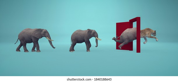 Elephants entering a door and gets out as a cheetah . Changing mindset and different approach concept . Life changing decision and new opportunities . This is a 3d render illustration .