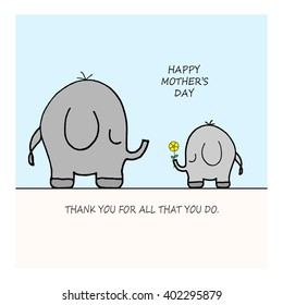 Elephants - Flower - Happy Mother's Day
