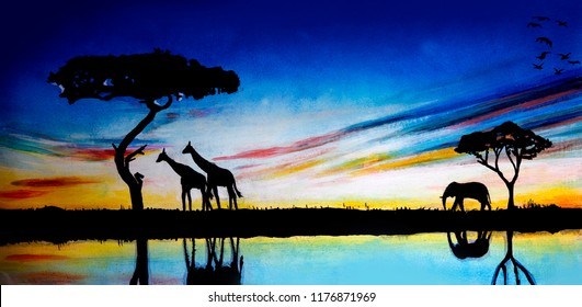 Elephants and giraffes against the background of dawn. Oil painting